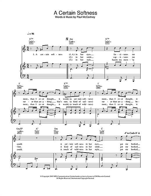 A Certain Softness Sheet Music