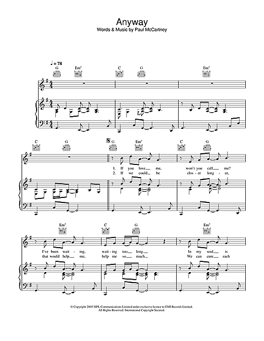 Anyway Sheet Music