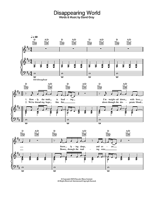 Disappearing World Sheet Music