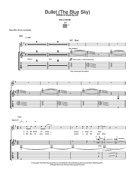 Bullet The Blue Sky Sheet Music