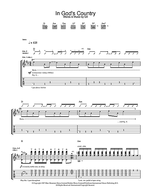 in god 39 s country guitar tab by u2 guitar tab 32905. Black Bedroom Furniture Sets. Home Design Ideas