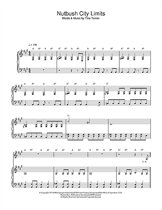 Nutbush City Limits Sheet Music