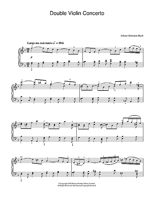 Double Violin Concerto, 2nd Movement Sheet Music