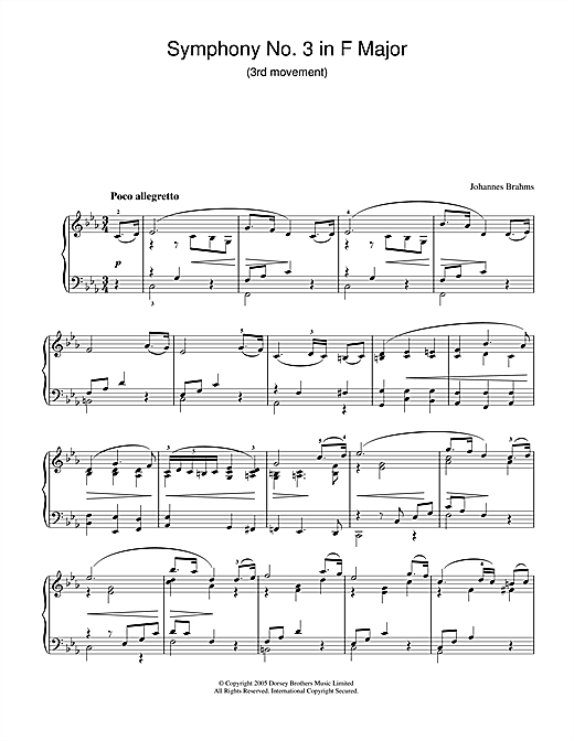 Partition piano Symphony No. 3 In F Major (3rd movement de Johannes Brahms - Piano Solo