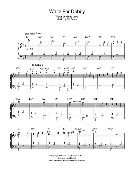 Partition piano Waltz For Debby de Bill Evans - Piano Facile