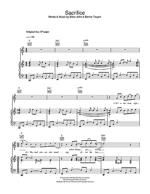 Sacrifice Sheet Music