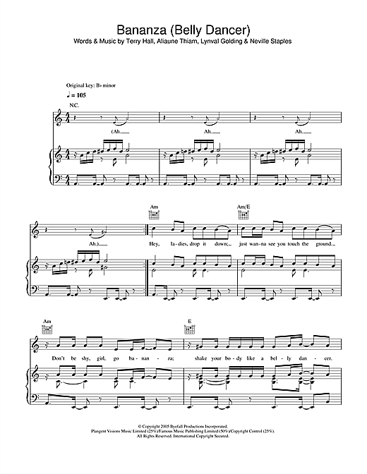 Bananza (Belly Dancer) Sheet Music