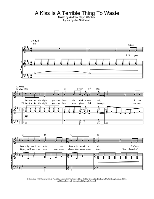 A Kiss Is A Terrible Thing To Waste (from Whistle Down The Wind) Sheet Music