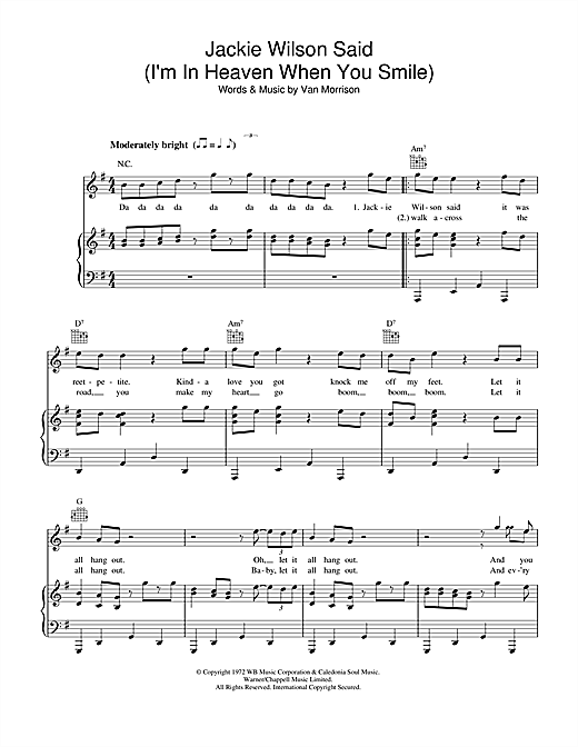 Jackie Wilson Said Im In Heaven When You Smile Sheet Music By Van