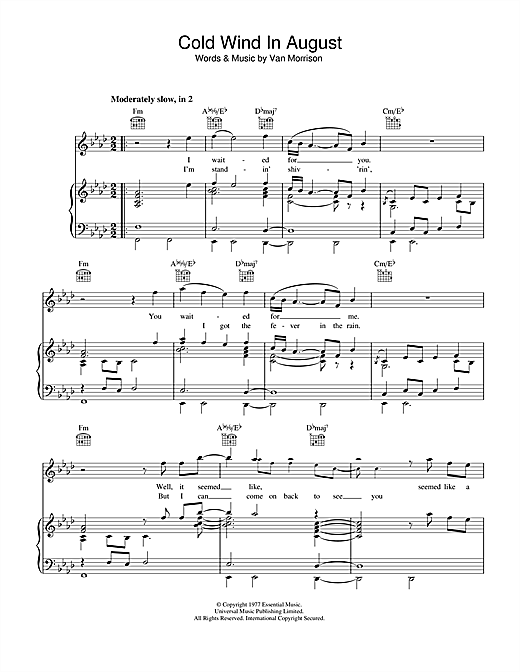 Cold Wind In August (Piano, Vocal & Guitar (Right-Hand Melody))