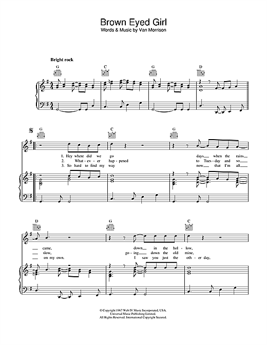 Brown Eyed Girl (Piano, Vocal & Guitar (Right-Hand Melody))