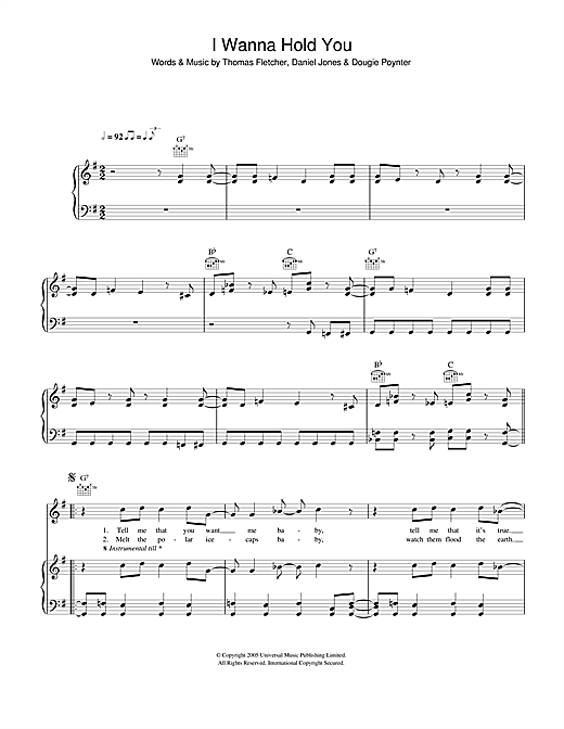 I Wanna Hold You Sheet Music