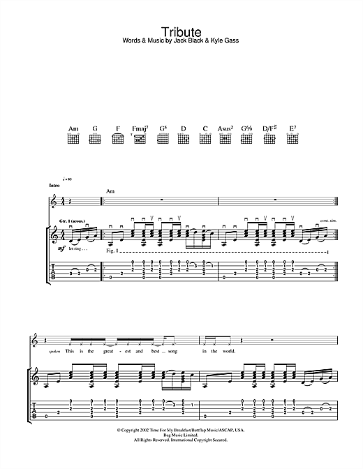 Tablature guitare Tribute de Tenacious D - Tablature Guitare