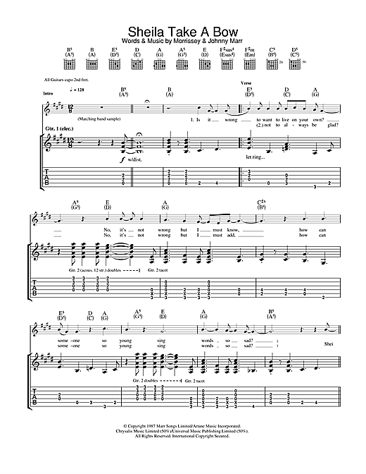 Tablature guitare Sheila Take A Bow de The Smiths - Tablature Guitare