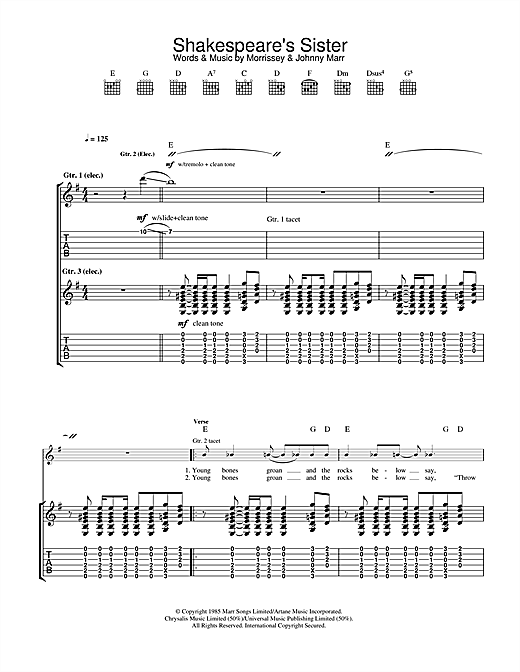 Tablature guitare Shakespeare's Sister de The Smiths - Tablature Guitare