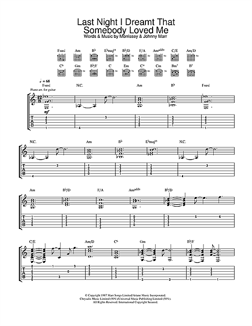 Tablature guitare Last Night I Dreamt That Somebody Loved Me de The Smiths - Tablature Guitare