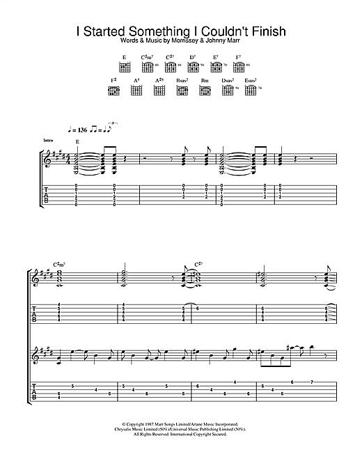 Tablature guitare I Started Something I Couldn't Finish de The Smiths - Tablature Guitare