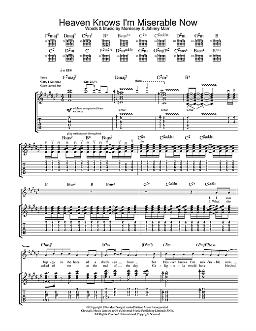 Heaven Knows I'm Miserable Now Sheet Music