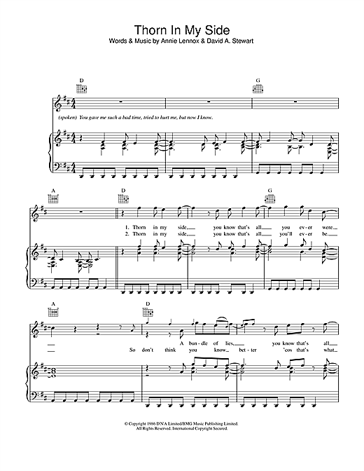 Thorn In My Side (Piano, Vocal & Guitar (Right-Hand Melody))