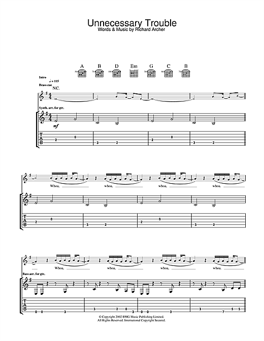 Tablature guitare Unnecessary Trouble de Hard-Fi - Tablature Guitare