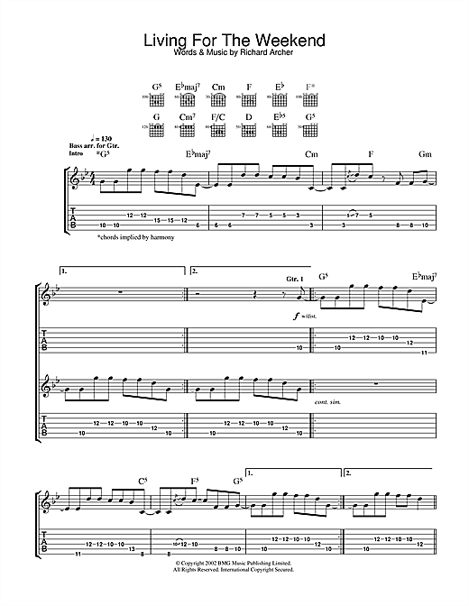 Tablature guitare Living For The Weekend de Hard-Fi - Tablature Guitare
