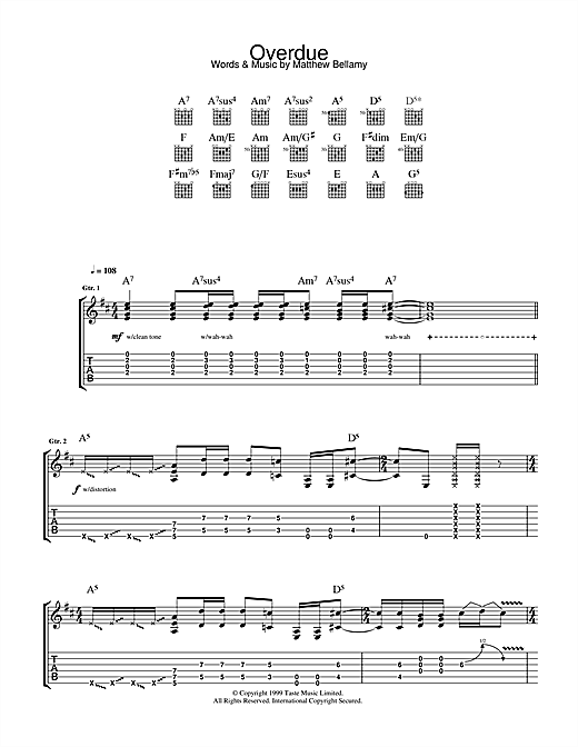 Overdue Sheet Music