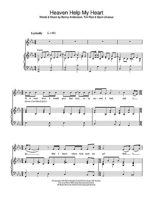 Heaven Help My Heart (from Chess) Sheet Music