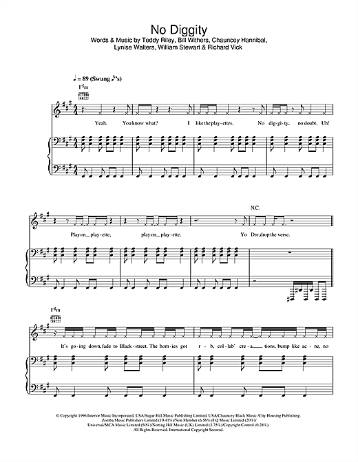 No Diggity Sheet Music