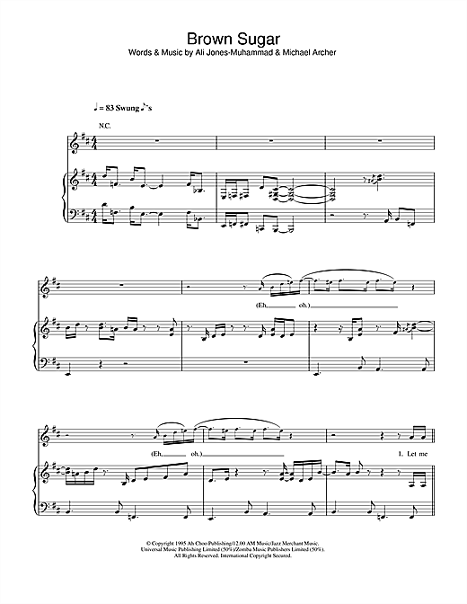 Brown Sugar sheet music by D\'Angelo (Piano, Vocal & Guitar (Right ...