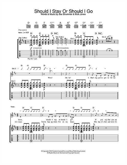 Should I Stay Or Should I Go (Guitar Tab)