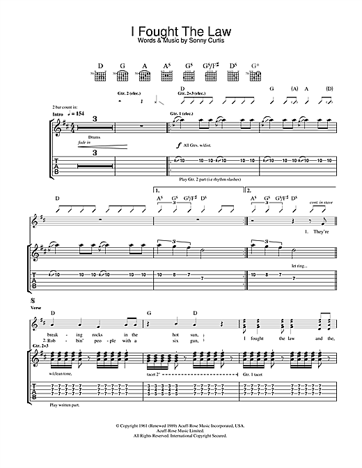 I Fought The Law (Guitar Tab)