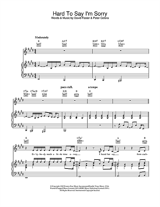 Guitar guitar chords sorry : Hard To Say I'm Sorry sheet music by Chicago (Piano, Vocal ...
