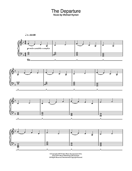 The Departure (from Gattaca) Sheet Music