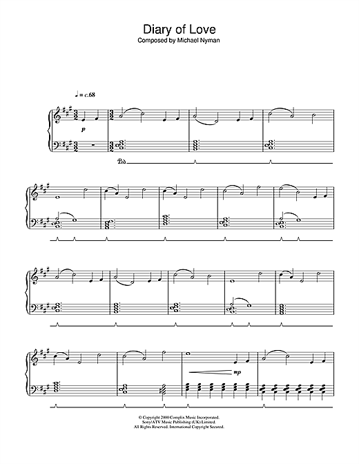 Diary Of Love (from The End Of The Affair) Sheet Music