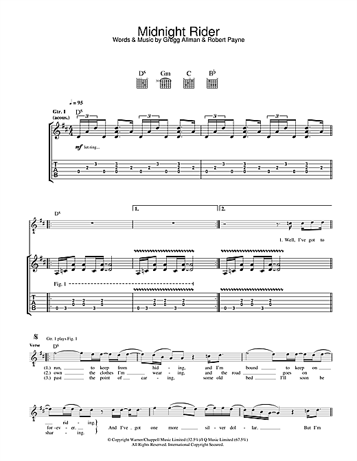 Midnight Rider Guitar Tab by The Allman Brothers Band (Guitar Tab ...