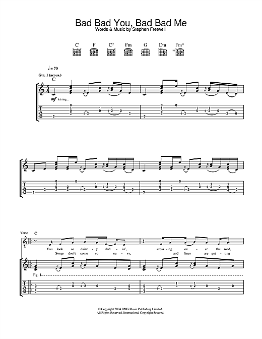 Tablature guitare Bad Bad You, Bad Bad Me de Stephen Fretwell - Tablature Guitare