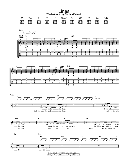 Tablature guitare Lines de Stephen Fretwell - Tablature Guitare
