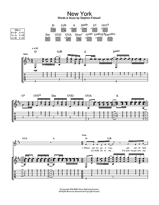 Tablature guitare New York de Stephen Fretwell - Tablature Guitare