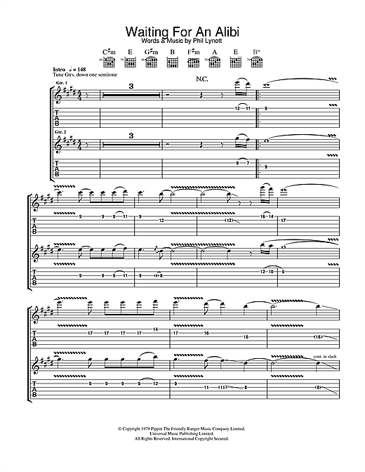 Tablature guitare Waiting For An Alibi de Thin Lizzy - Tablature Guitare
