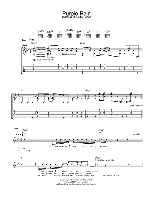 Purple Rain Guitar Tab by Prince (Guitar Tab – 33210)