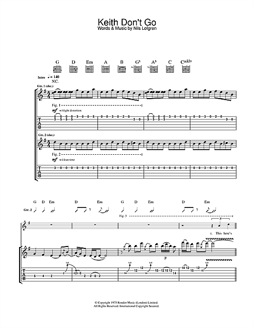 Keith Don't Go (Guitar Tab)