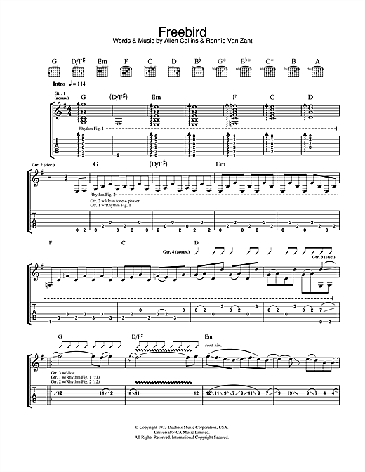 Tablature guitare Free Bird de Lynyrd Skynyrd - Tablature Guitare