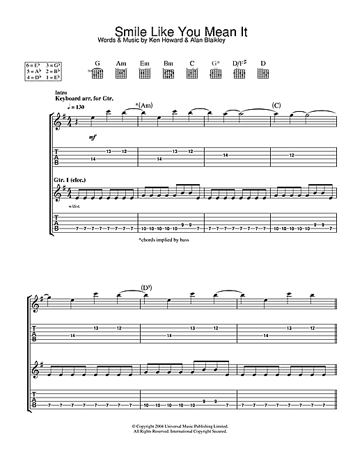 Smile Like You Mean It Sheet Music