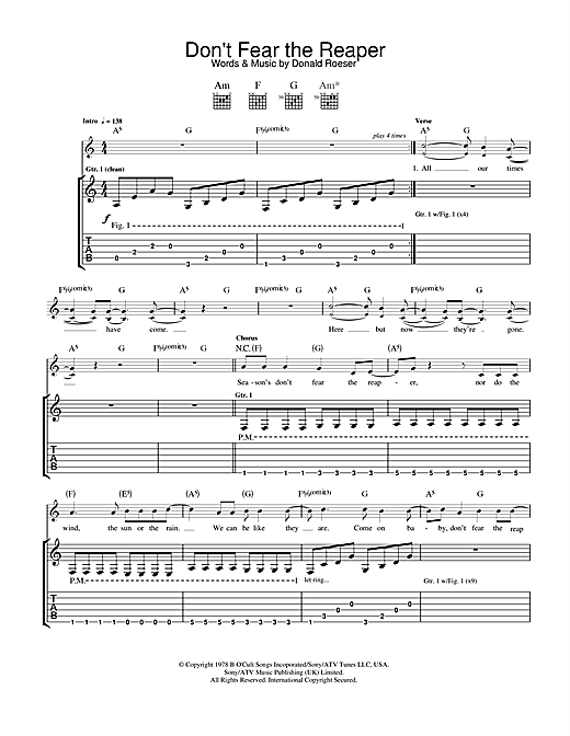 (Don't Fear) The Reaper Sheet Music