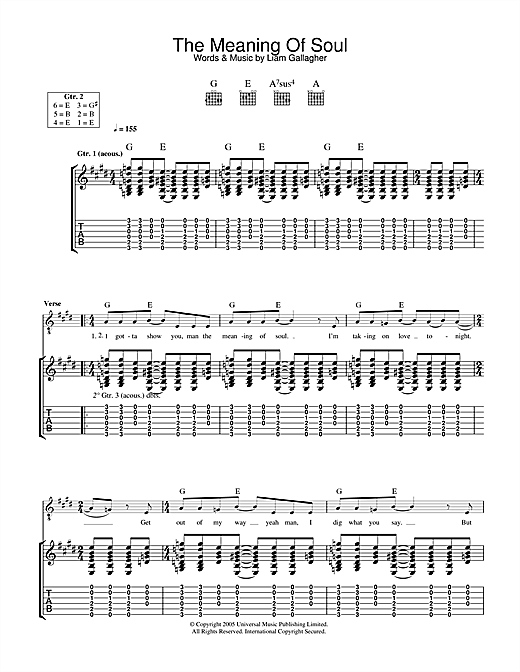 Tablature guitare The Meaning Of Soul de Oasis - Tablature Guitare