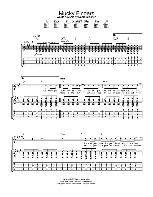 Tablature guitare Mucky Fingers de Oasis - Tablature Guitare
