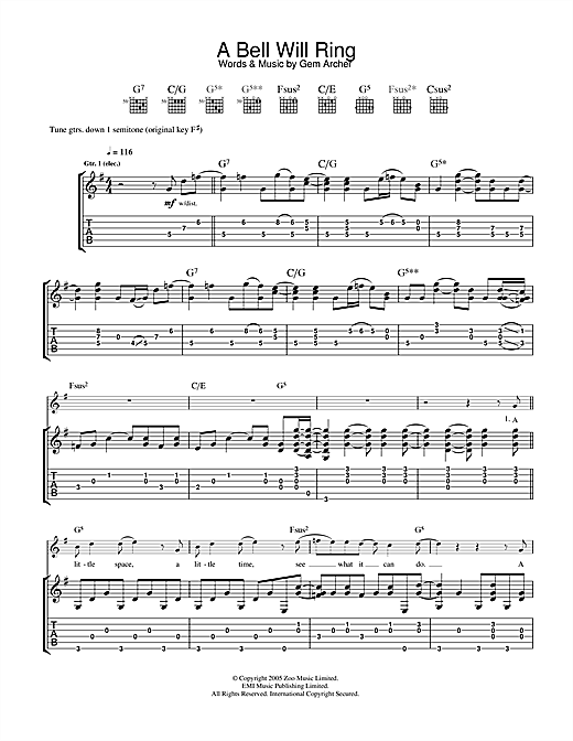 Tablature guitare A Bell Will Ring de Oasis - Tablature Guitare