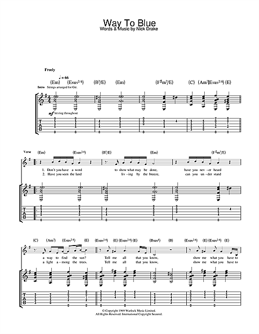 Tablature guitare Way To Blue de Nick Drake - Tablature Guitare