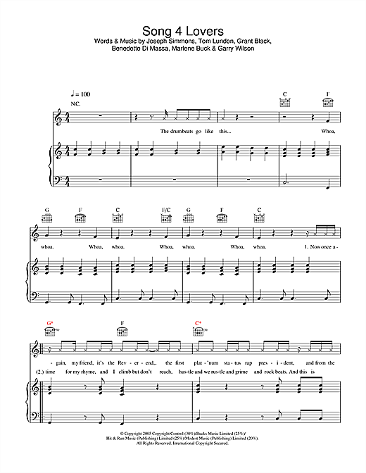 Song 4 Lovers (Piano, Vocal & Guitar (Right-Hand Melody))