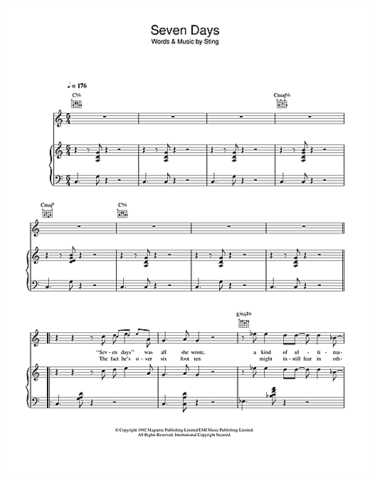 Seven Days Sheet Music